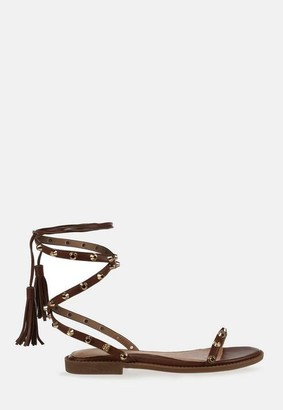 Missguided Brown Lace Up Gladiator Sandals