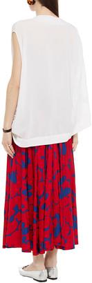 Marni Pleated Printed Satin-jersey Maxi Skirt