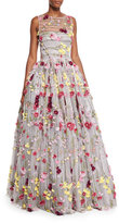 Naeem Khan Beaded Tulle Illusion Gown w/Floral Appliques, Pink/Fuchsia/Multi