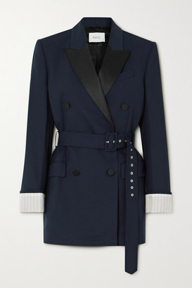 Racil Farrah Belted Double-breasted Satin-trimmed Wool-blend Blazer - Navy