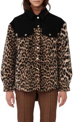 Maje Animal Print Fleece & Denim Jacket