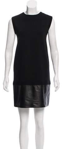 Giambattista Valli Leather-Trimmed Shift Dress