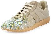 Maison Margiela Replica Paint-Splatter Low-Top Sneaker, Khaki