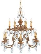Crystorama Twelve Light Brass Up Chandelier