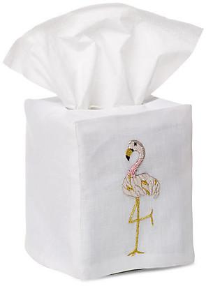 Hamburg House Flamingo Tissue Box Cover - Gold/White