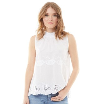 Onfire Womens Embroidered Hem Blouse White