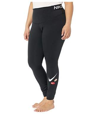 Nike Plus Size One Tights Just Do It Y (Black/Black/White) Women's Casual Pants