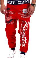 jeansian Men's Casual Printing Sport Baggy Jogger Long Pant S376 M
