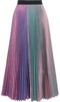 Christopher Kane Iridescent Pleated Silk-blend Taffeta Midi Skirt - Lavender
