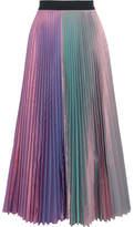 Christopher Kane Iridescent Pleated Silk-blend Taffeta Midi Skirt