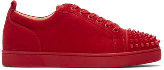 Christian Louboutin Red Suede Louis Junior Spikes Sneakers