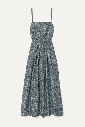 Matteau Floral-print Cotton-poplin Maxi Dress - Blue