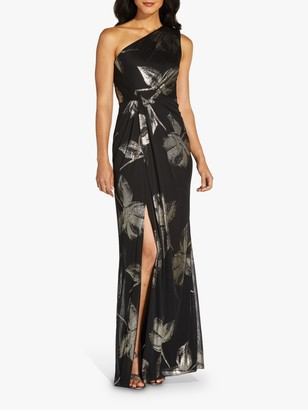 Adrianna Papell One Shoulder Floral Draped Maxi Gown, Black/Gold