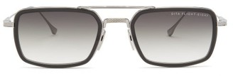 Dita Eyewear Flight Eight Rectangular Metal Sunglasses - Mens - Black