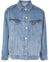 Petite mid wash denim jacket