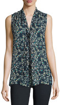 Max Studio Sleeveless Tie-Neck Printed Top, Navy/Ivy