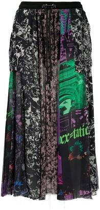 Diesel Patchwork Print Midi Skirt