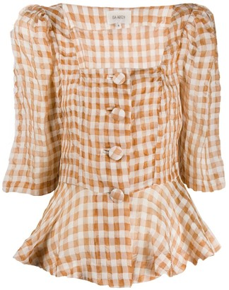 Isa Arfen Ruched Gingham Top