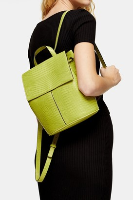 Topshop ELLIS Lime Green Crocodile Backpack