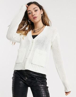 Noisy May oversized cardigan with pockets in white