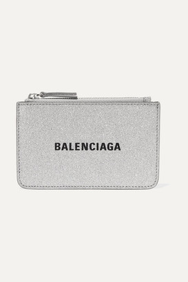 Balenciaga Everyday Glittered Leather Wallet - Silver