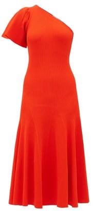 Carolina Herrera One-sleeve Ribbed Midi Dress - Womens - Red