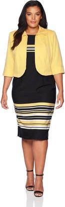 Maya Brooke Size Women's Striped Jacket Dress Plus