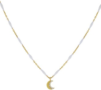 Adina's Jewels Cubic Zirconia Moon Pendant Necklace