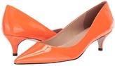Massimo Matteo Pointy Toe Kitten Heel (Orange Patent) Women's 1-2 inch heel Shoes
