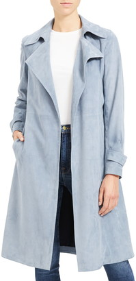 Theory Oaklane Tidle Lambskin Suede Trench Coat