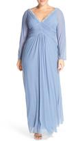 Marina Embellished V-Neck Long Sleeve Gown (Plus Size)