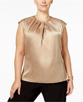 Kasper Plus Size Pleated Metallic Blouse