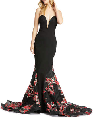 Mac Duggal Plunging Sweetheart Floral Embroidered Trumpet Gown