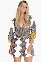 boohoo Sofie Scarf Print Kimono Style Playsuit