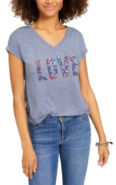 Style&Co. Style & Co Plus Size Graphic Print Love T-Shirt, Created for Macy's