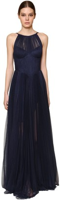 Maria Lucia Hohan Long Polka Dotted Pleated Tulle Dress