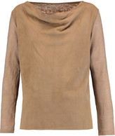 Majestic Draped suede and linen top