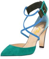 FSJ Women Straps Chunky Heels Pumps Pointed Toe Stilettos Ankle Buckle Shoes Size 10