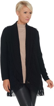 Isaac Mizrahi Live! 2-Ply Cashmere Cable Cardigan with Fringe