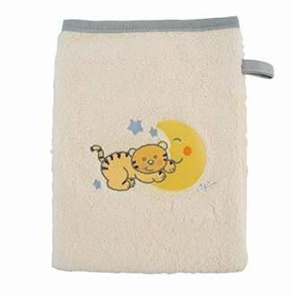 BEIGE BIECO 44500002 - Baby face Cloth, Beige, Gray Border and Motif cat Mia, 22 x 17 cm, 100% Cotton