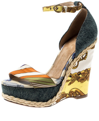 Dolce & Gabbana Multicolor Printed Satin/Denim Ankle Strap Platform Wedge Sandals Size 38