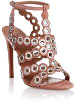 Alaia Nude suede eyelet sandal
