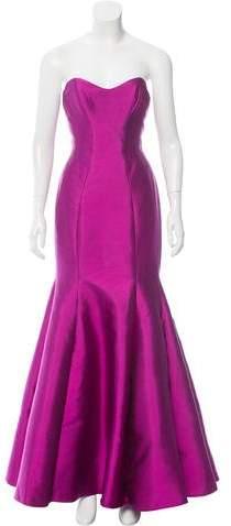 Lela Rose Wool & Silk-Blend Gown