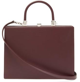 Rodo Le Marais Frame-top Leather Handbag - Burgundy