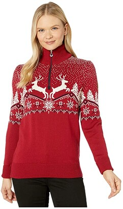 Dale of Norway Christmas Feminine Sweater (Red Rose/Off-White/Navy) Women's Clothing