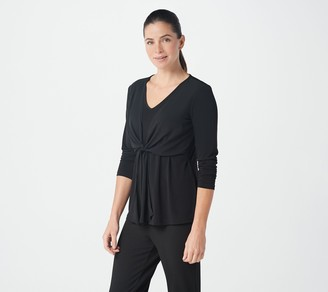 Susan Graver Liquid Knit Top with Tied Chiffon Overlay