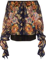 Chloé Off-the-shoulder Floral-print Fil Coupé Silk Blouse - Navy