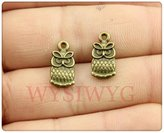 Nobrand No brand 10pcs 15*7mm vintage antique bronze plated double sided owl small size charms