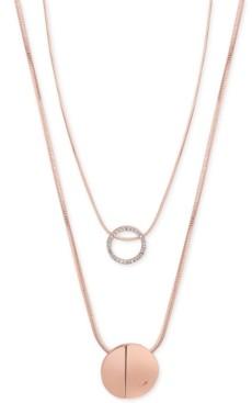 GUESS Rose Gold-Tone 2-Pc. Set Pave Pendant Necklaces