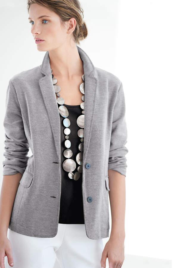 Joan Vass Two-Button Pique Boyfriend Jacket